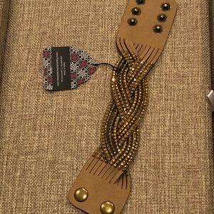 Paparazzi Brass Braided snap bracelet with gems.